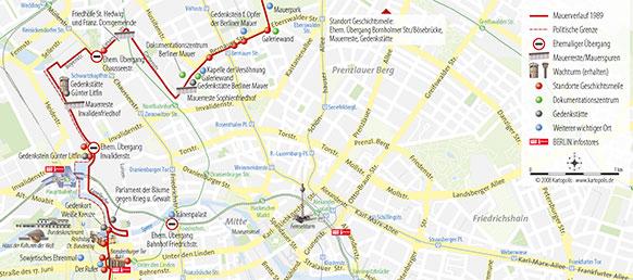 Die Berliner Mauer im Stadtplan