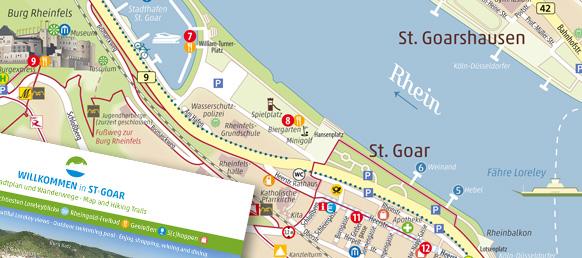 Stadtplan für St. Goar am Mittelrhein