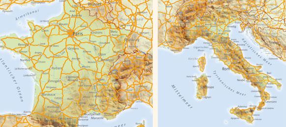 Karte Italien Frankreich.übersichtskarten Kartopolis Kartografie Berlin